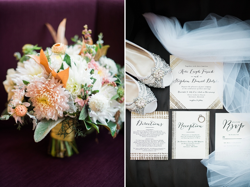 bridal bouquet and invitations