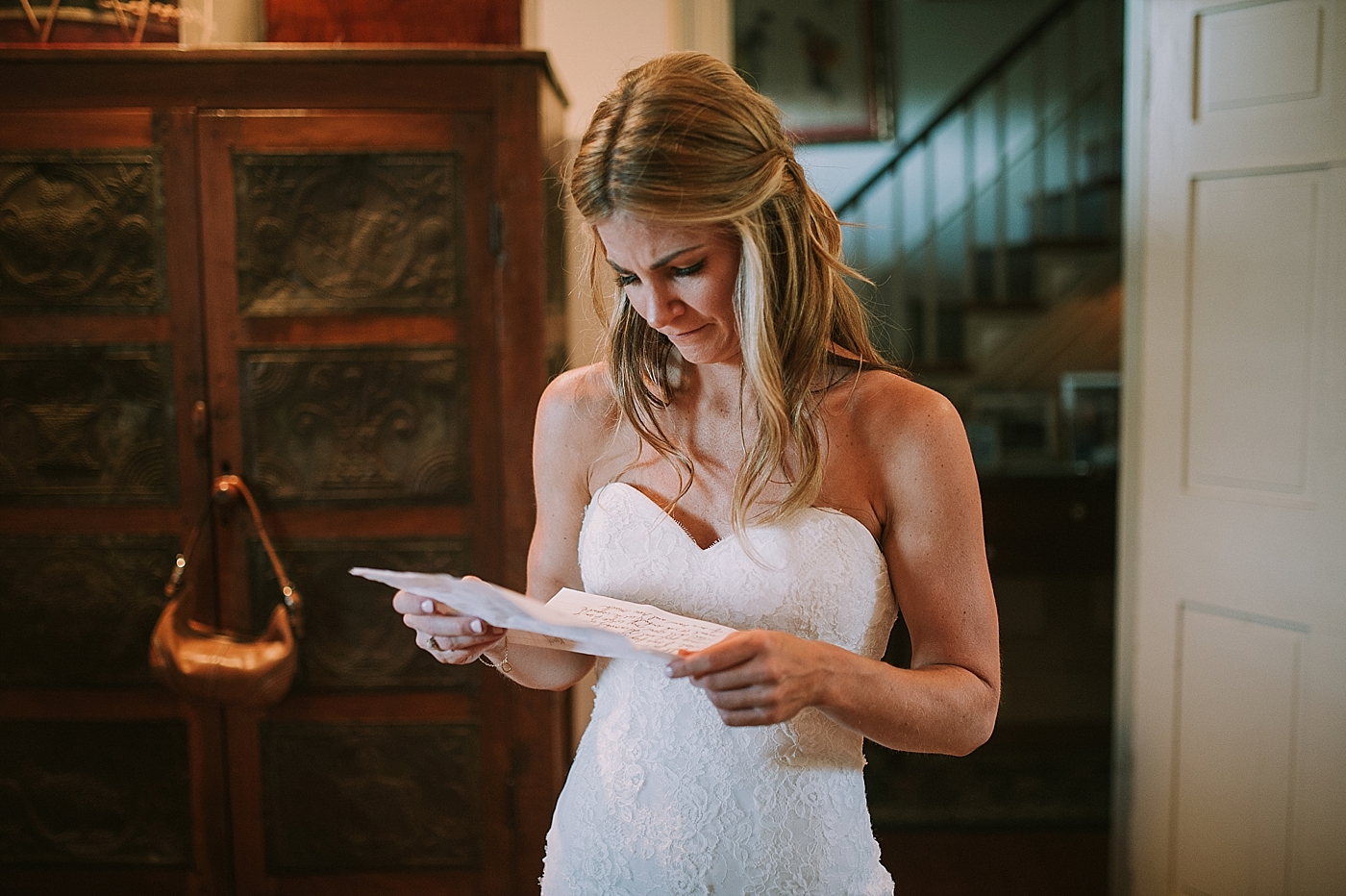 emotional bride reading grooms letter