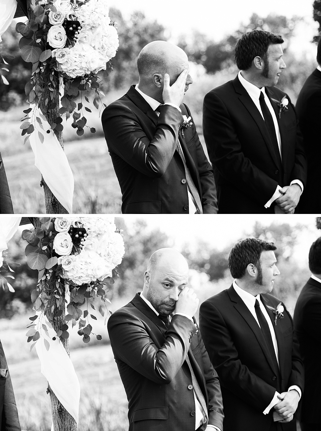 groom crying at sight of bride