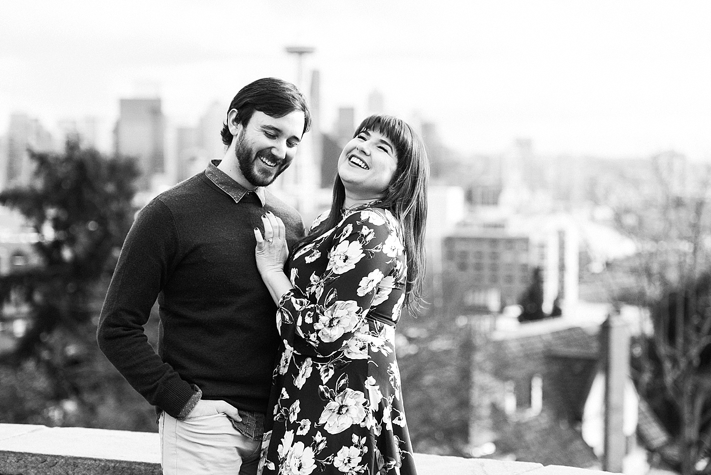 seattle couple laughing