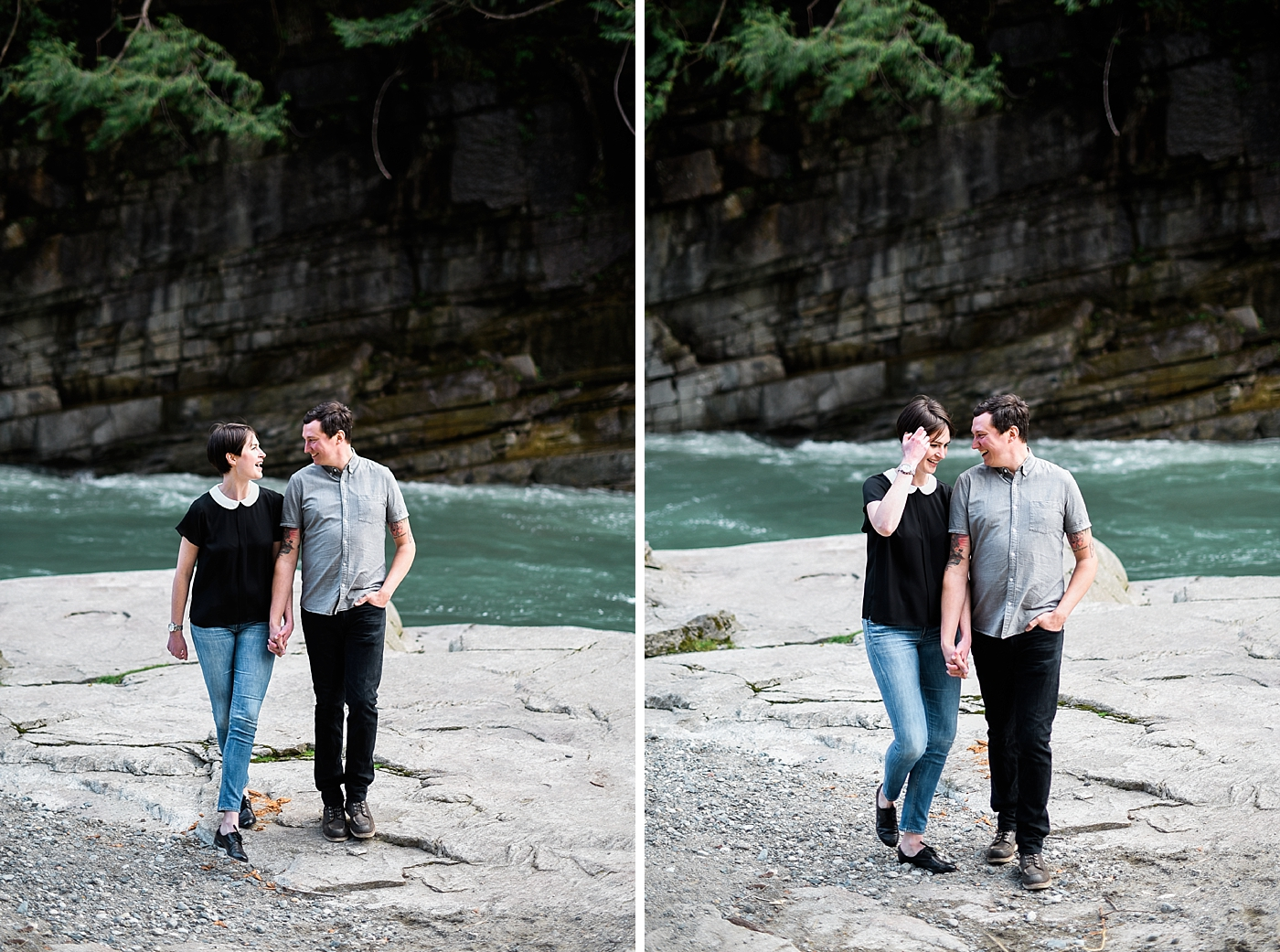 eagle falls engagement shoot couple laughing