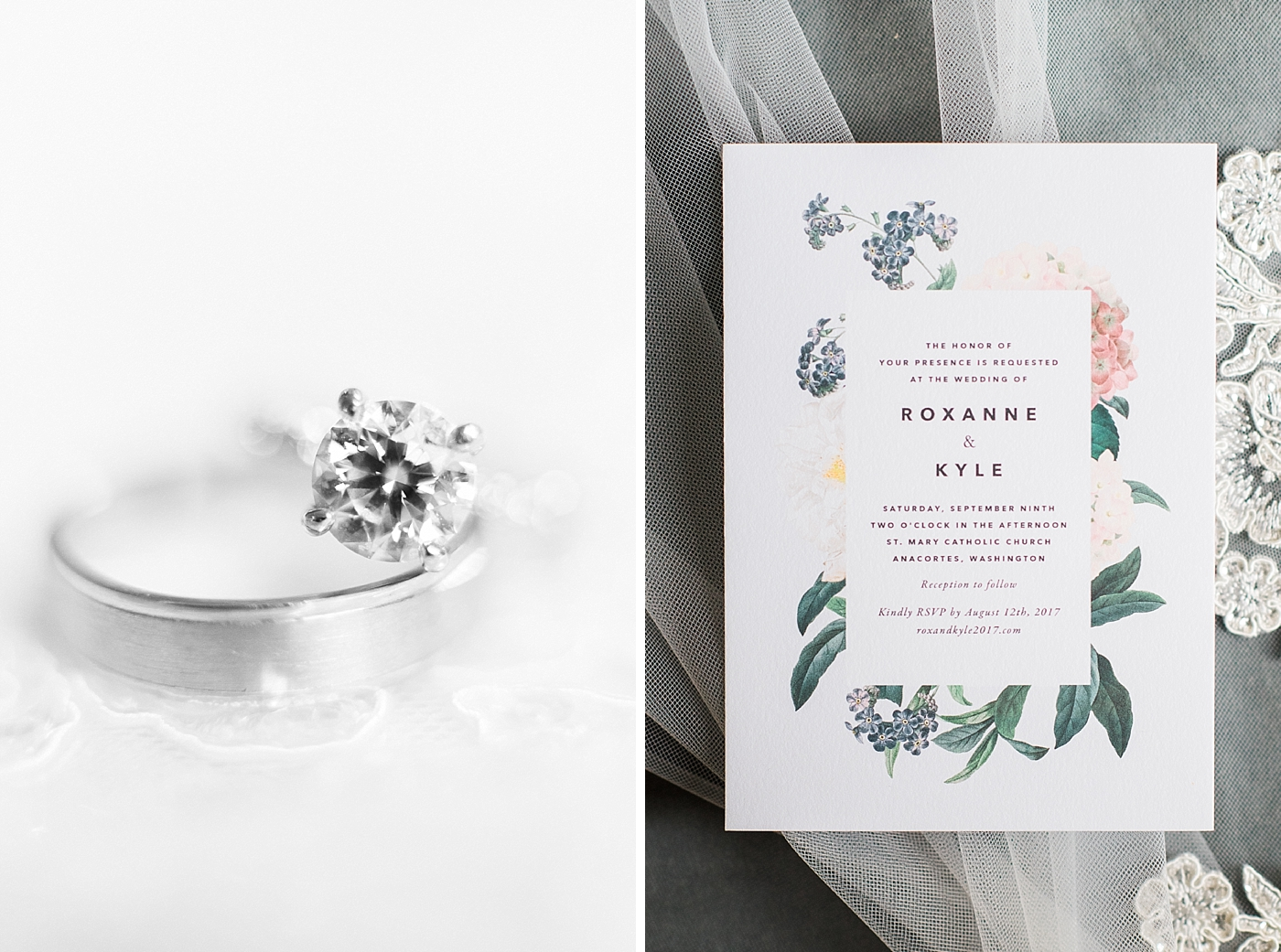 Anchorets Wedding Details including stationary and bridal rings
